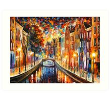 AMSTERDAM - NIGHT CANAL - Leonid Afremov Art Print