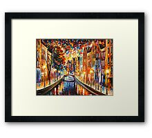 AMSTERDAM - NIGHT CANAL - Leonid Afremov Framed Print