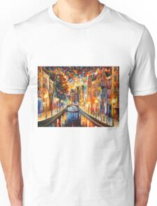 AMSTERDAM - NIGHT CANAL - Leonid Afremov Unisex T-Shirt