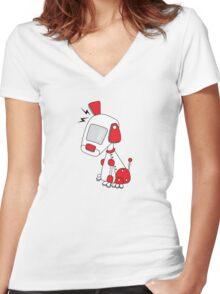 Robot dog red Women's Fitted V-Neck T-Shirt