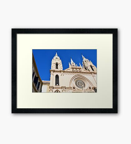 Architectural detail of the cathedral from Malaga, Spain. Framed Print