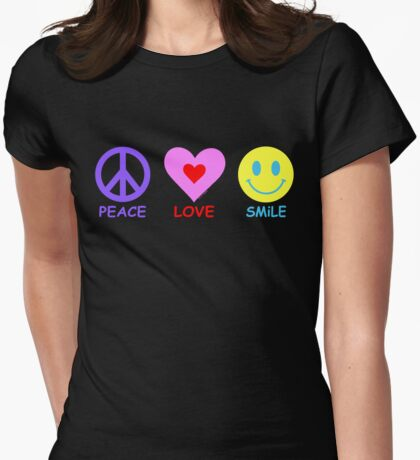Peace Love Smile Womens Fitted T-Shirt