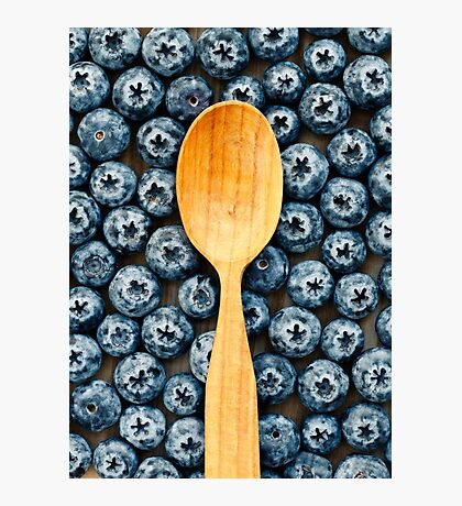 Wooden spoon on berries Photographic Print