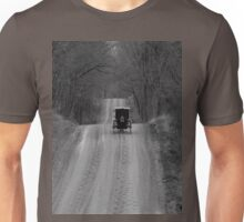 For now I'm standing here..The future is but past forgotten...Time measures rust as it crawls...I've gone too far to turn back now...On the road to madness Unisex T-Shirt