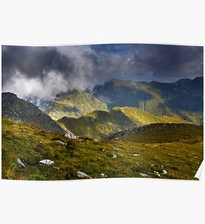 Alpine landscape in a cloudy day Poster