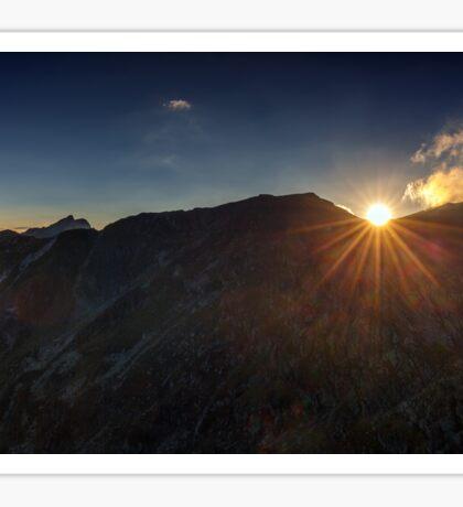 Mountain peaks at sunset Sticker