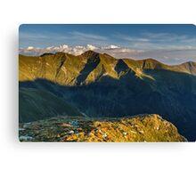 Mountain peaks at sunset Canvas Print