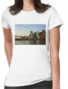 San Francisco Skyline - South Beach Embarcadero Facades Reflect the Sunrise Womens Fitted T-Shirt