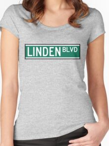 Linden Boulevard Sign Women's Fitted Scoop T-Shirt