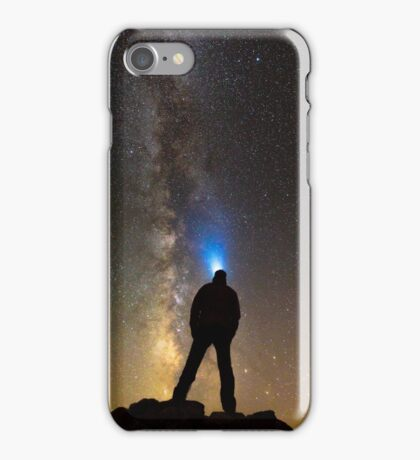 Silhouette of a man looking at stars iPhone Case/Skin