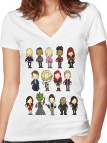 Doctors Companions and Friends V.2 Women's Fitted V-Neck T-Shirt