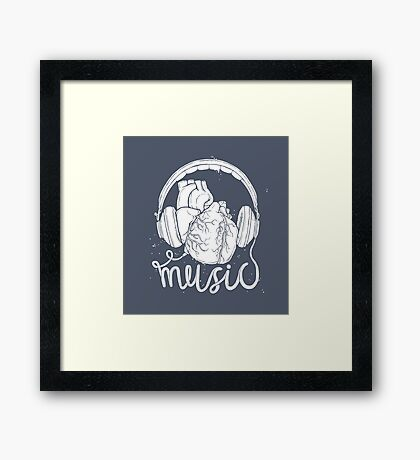 Music lover heart headphones Framed Print