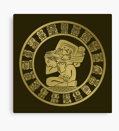 Mayan calendar in the style of boho Canvas Print