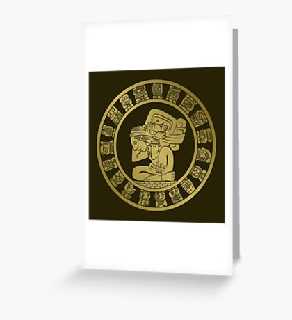 Mayan calendar in the style of boho Greeting Card