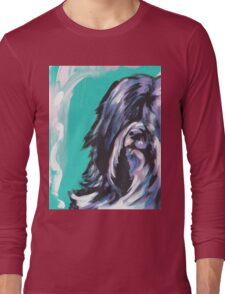 Tibetan Terrier Bright colorful pop dog art Long Sleeve T-Shirt