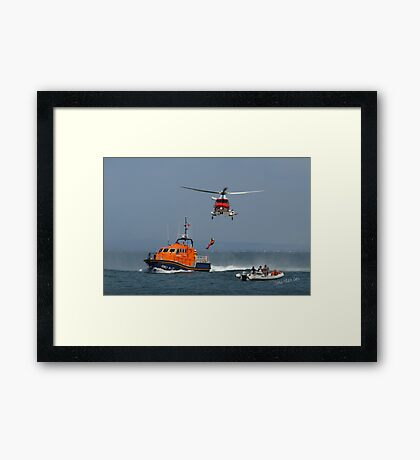 Bembridge Lifeboat & Helicopter Framed Print