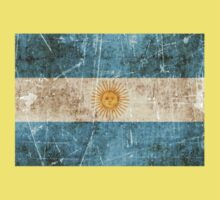 Vintage Aged and Scratched Argentinian Flag Kids Tee