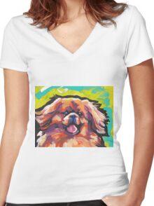 Tibetan Spaniel Bright colorful pop dog art Women's Fitted V-Neck T-Shirt