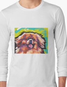 Tibetan Spaniel Bright colorful pop dog art Long Sleeve T-Shirt