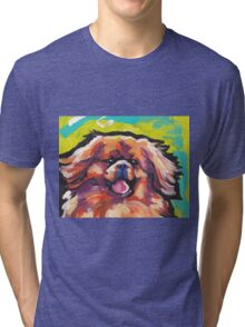 Tibetan Spaniel Bright colorful pop dog art Tri-blend T-Shirt