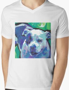 staffordshire Bull Terrier Bright colorful pop dog art Mens V-Neck T-Shirt
