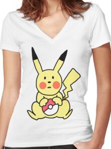 Cute Pikachu with Pokeball Women's Fitted V-Neck T-Shirt
