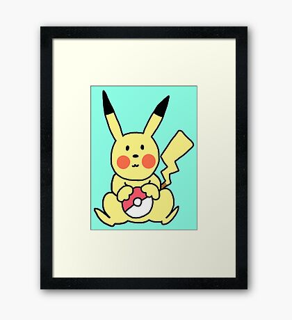 Cute Pikachu with Pokeball Framed Print