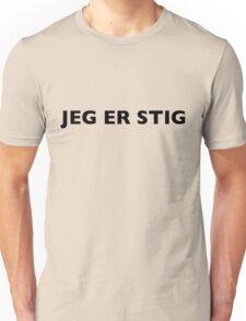 I AM THE STIG - Norwegian Black Writing Unisex T-Shirt