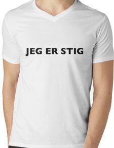 I AM THE STIG - Danish Black Writing Mens V-Neck T-Shirt