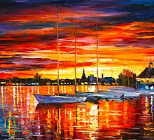 HELSINKI - SAILBOATS AT YACHT CLUB - Leonid Afremov by Leonid Afremov