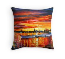 HELSINKI - SAILBOATS AT YACHT CLUB - Leonid Afremov Throw Pillow