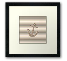 Gold Stripes Nautical Anchor Framed Print