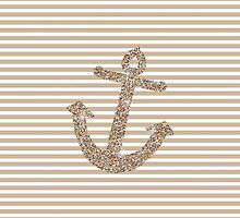 Gold Stripes Nautical Anchor by pencreations