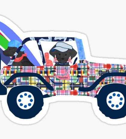 Preppy Madras Jeep Black Lab - Nantucket Vacation Sticker