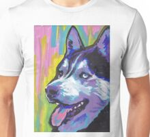 Siberian Husky Bright colorful pop dog art Unisex T-Shirt