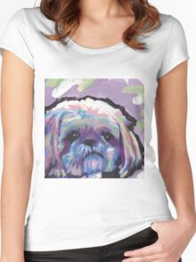 Shih Tzu Bright colorful pop dog art Women's Fitted Scoop T-Shirt