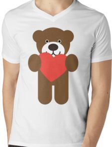 Teddy Bear Heart Mens V-Neck T-Shirt