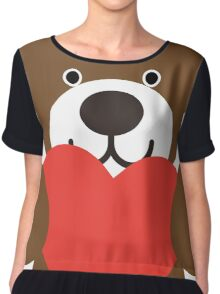 Teddy Bear Heart Chiffon Top