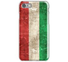 Vintage Aged and Scratched Hungarian Flag iPhone Case/Skin