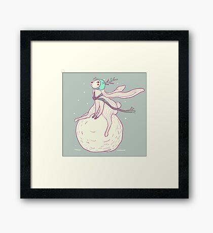 Winter rabbit and snowball Framed Print