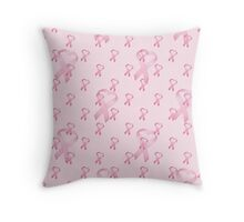 Pink Heart Ribbon Breast Cancer Throw Pillow