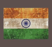 Vintage Aged and Scratched Indian Flag Kids Clothes