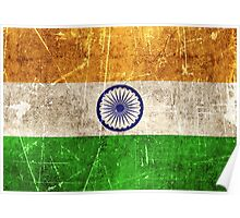 Vintage Aged and Scratched Indian Flag Poster
