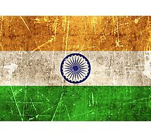 Vintage Aged and Scratched Indian Flag Photographic Print