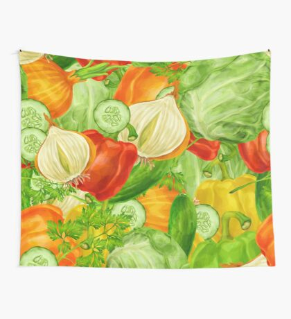 Colorful Vegetables Wall Tapestry