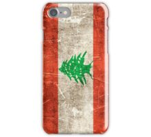 Vintage Aged and Scratched Lebanese Flag iPhone Case/Skin