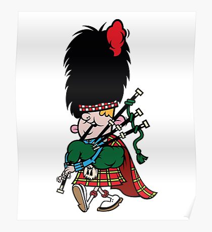 Scottish Bagpipe Player in Kilt  Poster