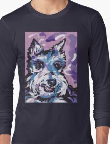 Schnauzer Bright colorful pop dog art Long Sleeve T-Shirt