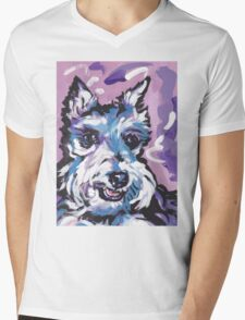 Schnauzer Bright colorful pop dog art Mens V-Neck T-Shirt