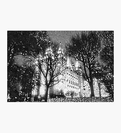 SLC - Temple Lighting in SLC Wood Carving Photographic Print